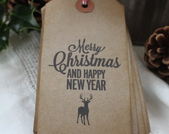 Merry Christmas and A Happy New Year-Gift Tags-Kraft-Rustic-Luggage Tags-Set of 10