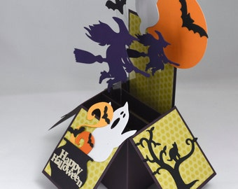 3D Happy Halloween Box Card with Witches, Ghosts and Bats