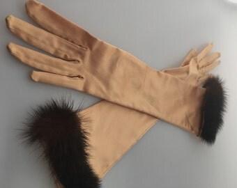 Vintage MINK Trimmed Gold SATIN Long Gloves 1950s /60s Vintage Stretch