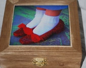 Ruby Red Slippers wooden photo jewelry box, Dororthy