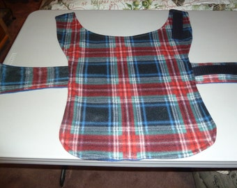 Small - Tartan Plaid Winter Fleece Dog Coat in Red, Black, Green, Blue and White