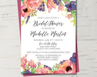Southern Garden Party Floral Bridal Shower Invitation, Baby Shower Invitation || Printable Invitation