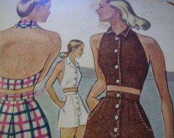 Vintage 1940's McCall 6449 Two-Piece Play Suit Sewing Pattern, Size 14, Bust 32