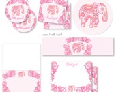 PINK INDIAN ELEPHANT baby shower complete party decor package coordinating baby shower decoration instant digital download printable files