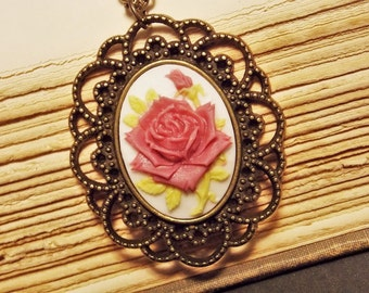 Purple and Bronze Rose Cameo Necklace