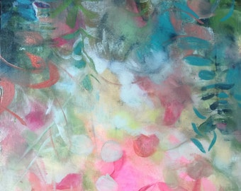 Pink and Green Eucalyptus Abstraction- Modern Art