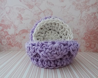 Crochet Basket and 5 Mini Facial Scrubbies - Make-Up Removers - Spa Basket - Facial Scrubbies - Cotton Pads - Cleansing Pads - Ready to Ship