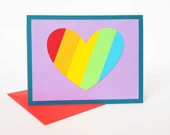 love is love is love rainbow heart card