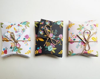 Set of Six DIY Spring Fling Floral Patterned No Glue Pillow Gift Boxes