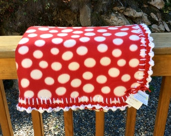 Red and White Poka Dot Double Sided Fleece Baby Blanket with Crocheted Trim