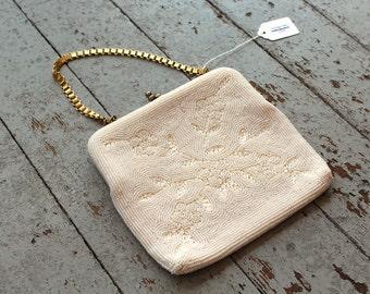 Vintage Beaded Purse // White Beaded Flowers // Vintage Japan // Japanese Handbag // Formal Handbag // Micro Beaded