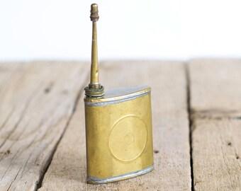 Vintage Military Gun Oiler, Tin Oil Can, Folding Army Oiler,