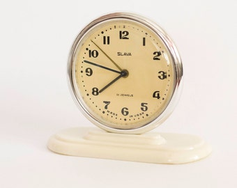 Alarm Clock Slava Vintage Working Soviet Russian Mechanical Clock 1960's