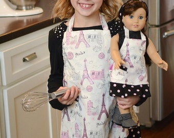 American Girl Doll Grace matching apron and headband in Paris print