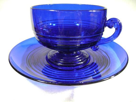 Tally Ho Cobalt Blue Cup & Saucer