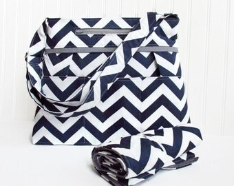 Chevron 9 Pocket Diaper Bag Set with Matching Changing Pad Navy Blue and Gray or Choose Your Own