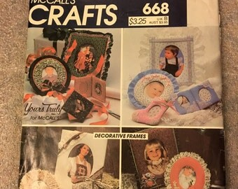 SEWING - 1983 UNCUT Original Vintage Yours Truly Decorative Frames McCall's Crafts Sewing Pattern #668