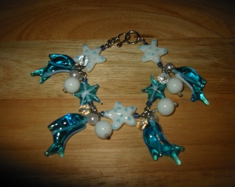 Glass Starfish & Dolphin Charm Bracelet an OOAK Kay Creatives Originals