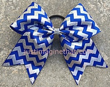 "3"" Width Cheer Bow 7""x7"" Texas Size Cheer Bow Royal Blue and Silver Hologram Chevron"