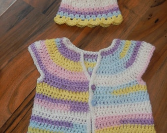 pretty little crocheted baby top/ sweater and hat set white, pink, lemon, blue, lilac newborn
