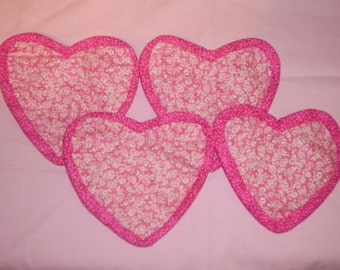 Quilted Coasters   Set of 4   Pink Hearts