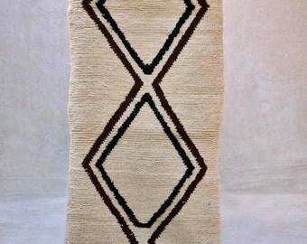 "The PINE and CEDAR HILLS 7'5"" x 2'6"" Boucherouite Rug. Tapis Moroccan. Teppich Berber. Mid Century Modern Danish Design Compliment. FA15-145"