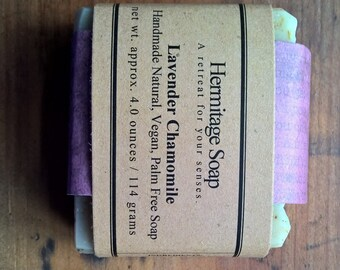 Lavender Chamomile Soap: Cold Process Soap, Vegan soap,  Palm Free soap, Handmade Soap, natural soap, essential oil soap, herb soap