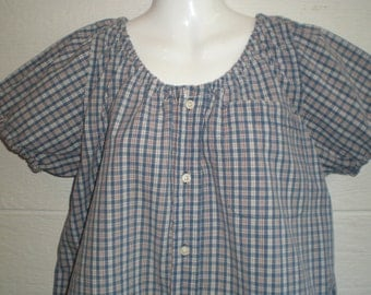Short sleeeve Peasant Blouse, elastic neck,  upcycled men's shirt 50 inch XL, blue and red plaid, boho, renfaire blouse, loose top