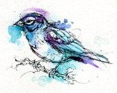 "Lark Sparrow- Print of Watercolor Bird Original Painting 5""x7"""