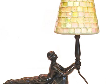 French Art Deco Bronze Nude Lamp and Mosaic Glass Shade, Bronze Reclining Woman Lamp