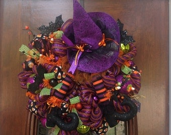 Witches Hat and Boots Wreath