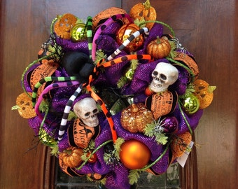 Whimsical Spider Halloween Wreath