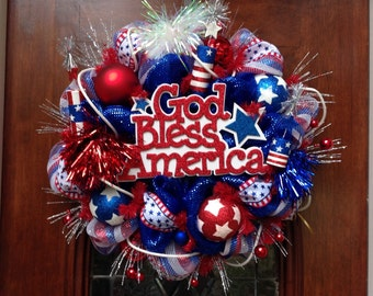 God Bless America Patriotic Deluxe Mesh Wreath