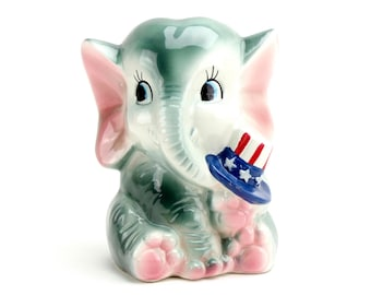 Vintage Rubens Planter, Elephant Planter, Election, Republican Collectible, Political, Patriotic, Republican Elephant, Pencil Cup, Epsteam