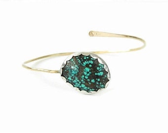 Turquoise Gold Bangle Bracelet, Gold Bracelet, Boho Bracelet