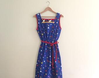 Vintage Paint Splotch Print Sun Dress // Novelty Print Dress // Festival // Boho // Hippie 1970s