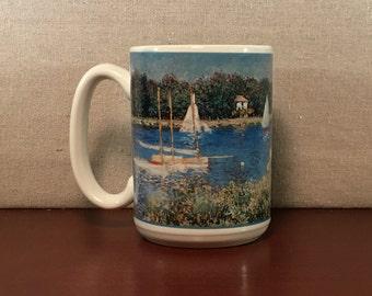 Monet's The Seine at Argenteuil Artwork Mug, Sailboats on the Seine Impressionistic Art Mug