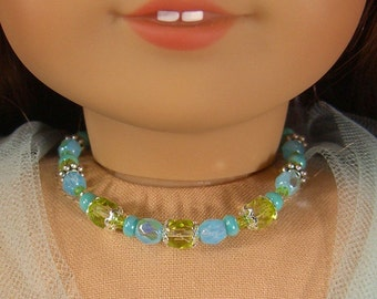 TURQUOISE, Lime, and Sky BLUE Silver Glass Beads NECKLACE for American Girl Dolls for Kanani, Lea, Easter, Spring