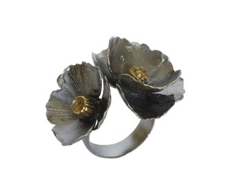 Oxidized sterling silver adjustable poppy ring