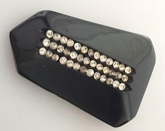 Vintage Dress CLIP BLACK Plastic Clip RHINESTONE Dress Clip 1940s Vintage Large Vintage Clip Jeweled Clip