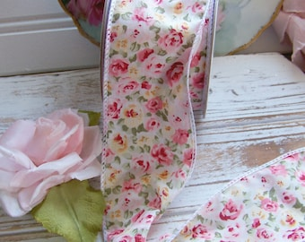 Shabby Style Floral Ribbon, Wired Floral Ribbon, Mini Rose Ribbon, Rose Ribbon, Roses, Mini Floral Ribbon, Ribbons, Cottage Style Ribbons