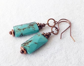 Turquoise Earrings, Turquoise Copper Earrings, Southwestern Jewelry, Boho Jewelry, December Birthstone, Statement, Geometric, Unique, Gift
