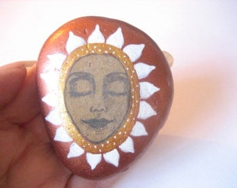 SALE: Hand painted meditation face art stone/paperweight.