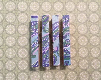 Lilly Pulitzer Paisley and Fish Print, Clothespin Magnets, Blue, Green, Pink, Yellow and White, Set of four