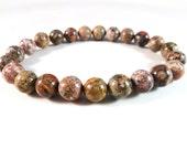 Leopardskin Jasper Stretch Bracelet Round 8mm Smooth Polished Gemstone Beads