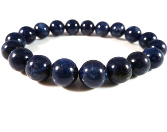 Dumortierite Stretch Bracelet 10mm Smooth Round Polished Blue High Quality Gemstone Beads