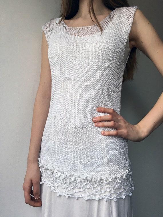 Knitting Summer Tunic : Knitted summer tunic vest beach white