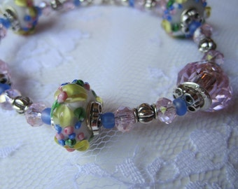Floral Lampwork Bracelet Shabby Chic Jewelry Mothers Day Gift Best Friend Gift
