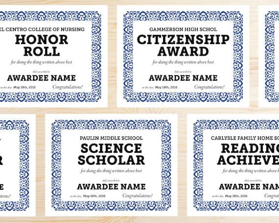 editable school award certificates instant download