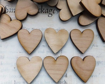 24 LIL Wood HEARTS - Natural Sustainable Wood - DIY Paint and Embellish